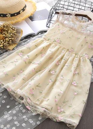 Платье фатин вышивка цветы