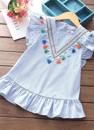 Платье коттон лёгкое летнее кисточки рюш волае