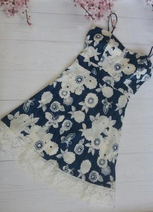 Платье сарафан цветы цветастое кружево