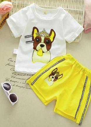 Костюм собачка модный шорты футболка  летний