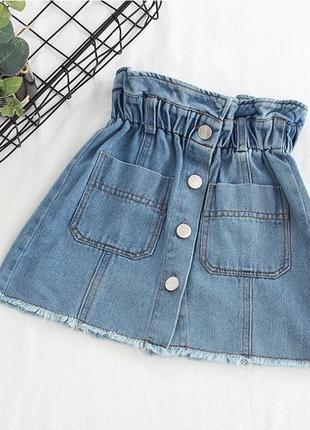 Юбка  джинсовая на заклепках завышенная талия