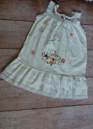 Платье легкое летнее  кружевное с вышивкой  волан