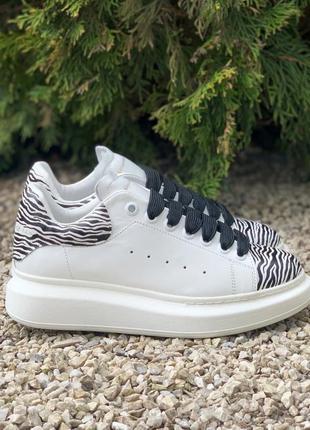 Кроссовки alexander mcqueen oversized white/zebra