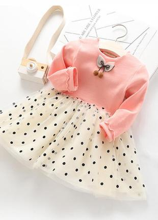 Платье  горошек сетка нарядное