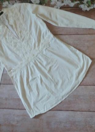 Блуза блузка туника шикарная  коттон расшита бисером вышивка