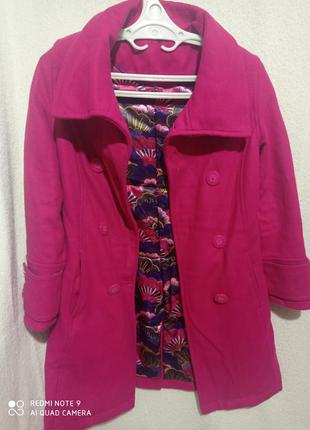Акция.❗💥демисезонное розовое двухбортное пальто шерсть, кашемир