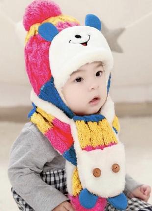 Комплект шапка шарф тёплый мех