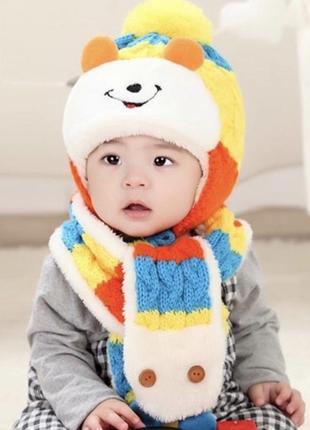 Комплект шапка шарф мех ушки тёплый набор