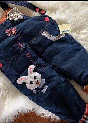 Комбинезон джинсовый модный тёплый джинсы синтепон
