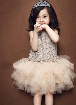 Платье нарядное кружевное фатин юбка сетка