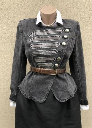 Черный,джинсовый жакет,пиджак,куртка,вышивка,нашивками,river...