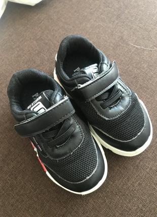 Крутые детские чёрные кроссовки с белой платформой