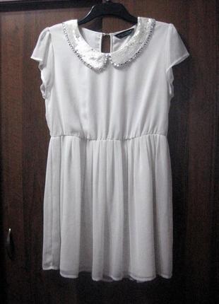 Платье dorothy perkins белое короткое пайетки камни стразы вор...