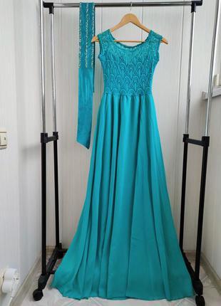 Новое выпускное платье вечернее в пол длинное гипюр