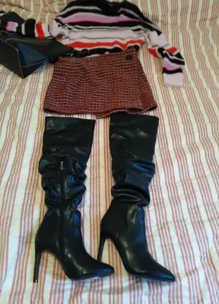 Черные ботфорты с экокожи от Catherine Matandrino