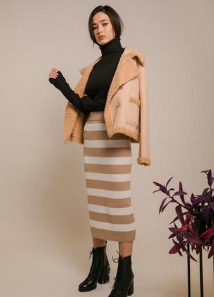 Женская вязаная длинная теплая юбка карандаш