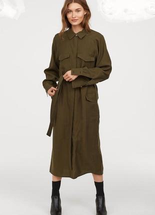 Трендовое миди платье рубашка h&m цвета хаки, на пуговицах.