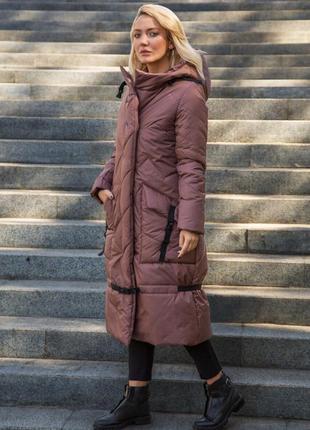 Куртка зимняя миди пуховик эксклюзив marani дизайнерский капучино