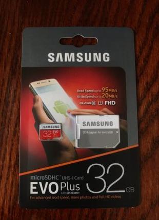 Карта памяти Samsung microSD (32Gb) 10 class Оригинал. Гарантия.