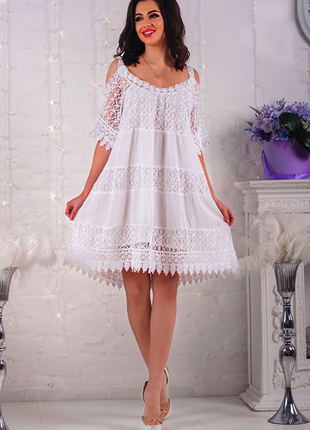 Шикарное кружевное платье туника из хлопка италия💕