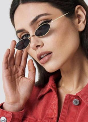 Черные узкие очки с золотой оправой окуляри модные стильные новые