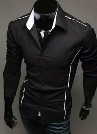 Мужская рубашка с белыми, узкими полосами по бокам