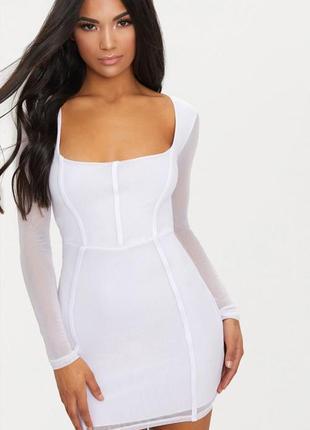 Ликвидация товара 🔥   белое мини платье в сеточку с рукавом и ...