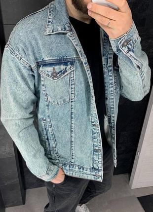 Джинсовка джинсовый пиджак оверсайз мужской / джинсовая куртка...