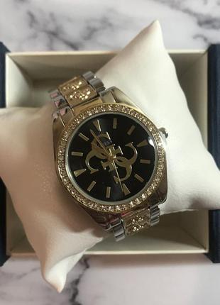 Женские часы с чёрным циферблатом