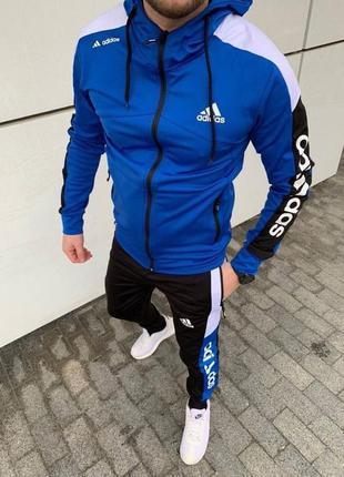 Мужской спортивный трикотажный костюм толстовка с капюшоном и...