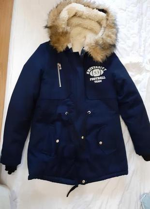 Зимняя куртка парка на меху барашек темно-синий овчина