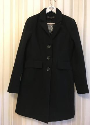 Черное пальто однобортное женское новое