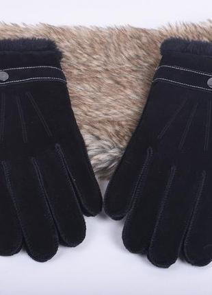 Черные перчатки из нубука на меху