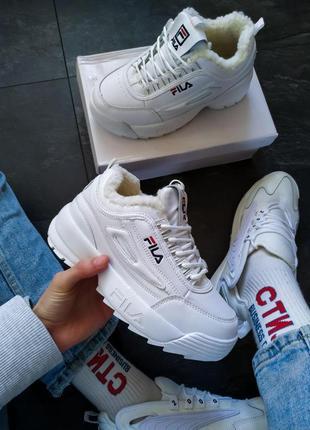 Шикарные женские зимние кроссовки/ ботинки fila disruptor 2 wh...