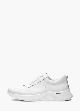 Мужские кожаные белые кроссовки натуральная кожа