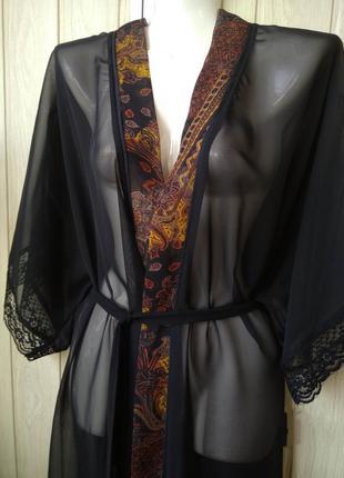 Роскошный длинный прозрачный чёрный халат/пеньюар в восточном...
