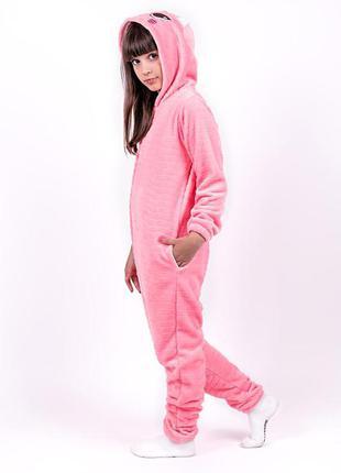 Кигуруми котик детский и подростковый, розовый