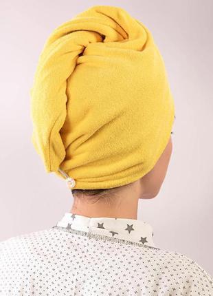 Тюрбан махровый, полотенце чалма, желтый