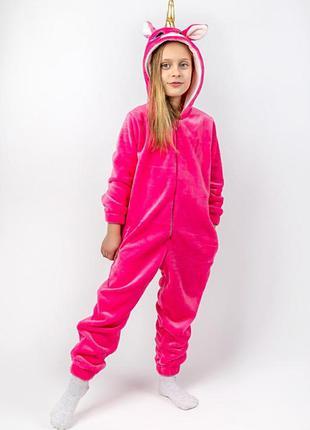 Кигуруми единорог детский и подростковый, розовый