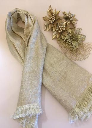 Золотой красивый квадратный платок, шаль/золотой палантин/шарф...