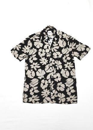 Рубашка с коротким рукавом шведка с тропическим принтом  р s zara