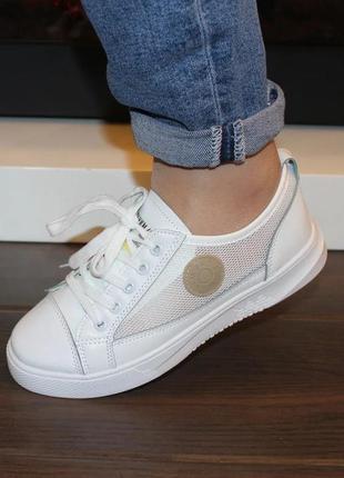 Женские белые кроссовки кеды криперы сетка