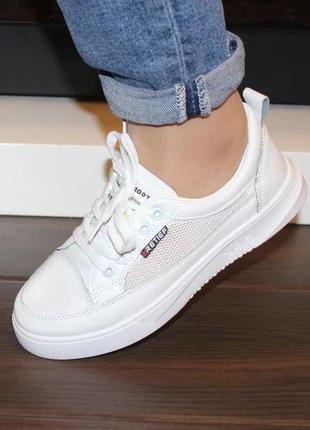 Женские белые кроссовки кеды криперы с сеткой