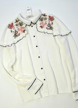 Нежная шифоновая блуза с вышивкой и длинными рукавами