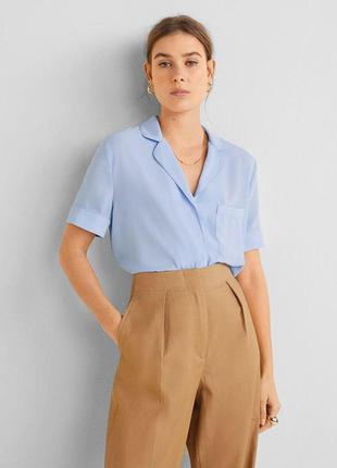 Небесно голубая блуза рубашка mango mango