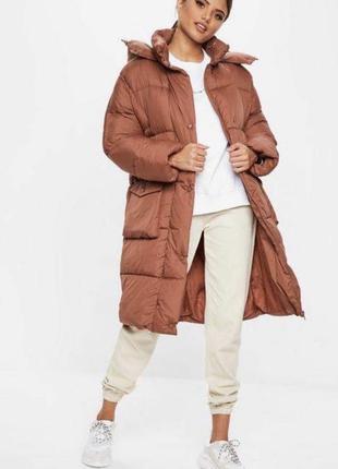 Пуффер пальто холлофайбер миди дутик пуф длинный коричневый рыжий