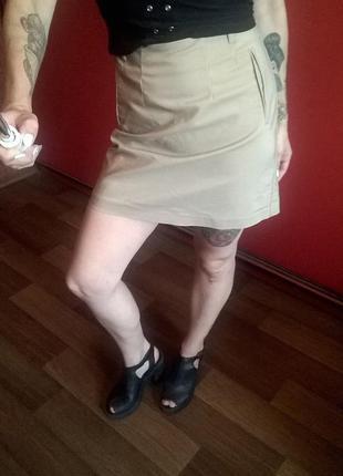 Базовая юбка трапеция цвета кэмел высокая талия