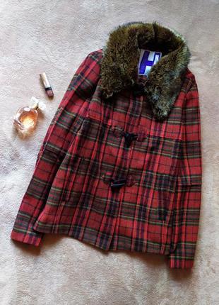 Трендовое стильное клетчатое пальто трапеция со съёмным мехом