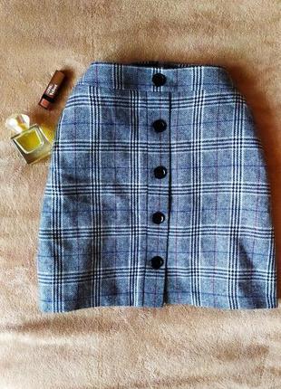 Трендовая клетчатая шерстяная юбка трапеция высокая талия на...