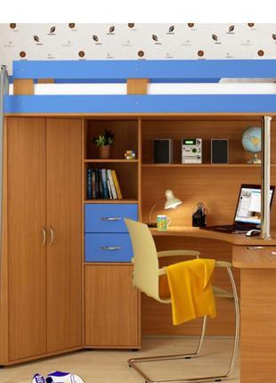 Кровать-чердак со шкафом и столом в однотонном цвете
